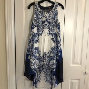 Freepeople blue white high low dress size M EUC
